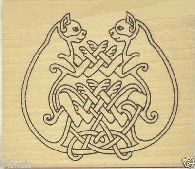 Celtic Cat Pair Rubber Stamp * Entwined Felines Book of Kells #357
