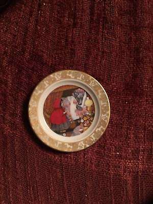 2 1/2 Franklin porcelain Mini Plate Little Red Riding Hood