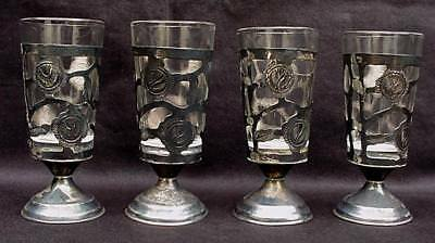 4 MEXICO STERLING SILVER 925 PIERCED GRAPE LEAF FOOTED CUPS w SHOT GLASS INSERTS