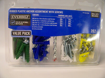 Everbilt 202 Pcs. Ribbed Plastic Anchor Assortment With Screws New