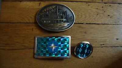 Vintage Steamboat Brass Belt Buckle and Blue Metal Belt Buckle (with tie clip)