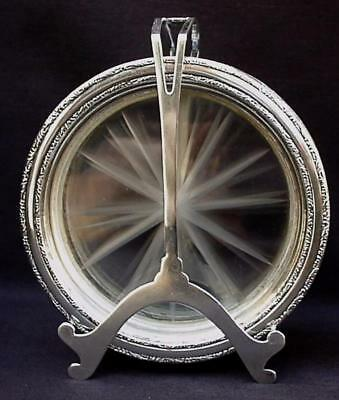 WEBSTER STERLING SILVER 925 ART DECO CADDY STAND HOLDER w 8 WINE GLASS COASTERS