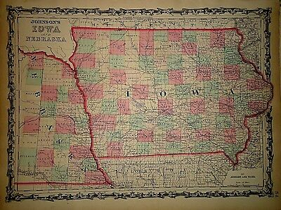 Antique Iowa Nebraska Map Vintage 1860's Johnson's Family Atlas 150+Years Old