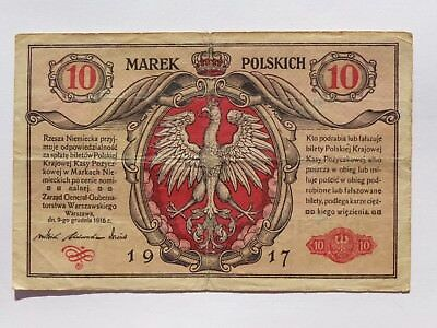 1917 Poland 10 Marek Second Issue Pick# 12 Vg+ Rare! No Reserve! Nice! Must See!