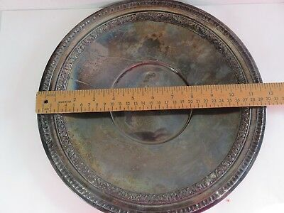 """Vintage REED & BARTON Silver Plated 12"""" Round Serving Tray #1221 Ornate Design"""