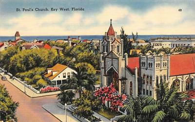 KEY WEST, FL Florida  ST PAUL'S CHURCH~Nearby Homes  1944 Tichnor Linen Postcard