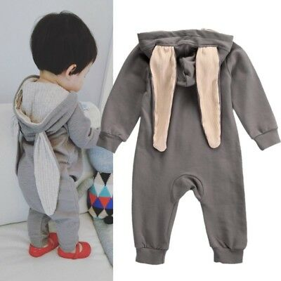 0-4T Infant Baby Cute Bunny Ear Romper Jumpsuit Girl Boy Gray Outfits Playsuit