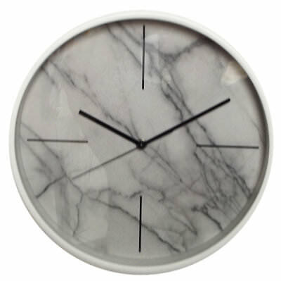 32cm Wall Clock Modern Marble White Stone No Numbers