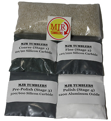 Refill Rock/Stone Polishing Grit Kit for Lapidary use in 12 lb Tumblers