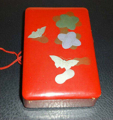 Vintage Lacquer Box with Butterflies - No Mend Silk Hosiery - Made in Japan