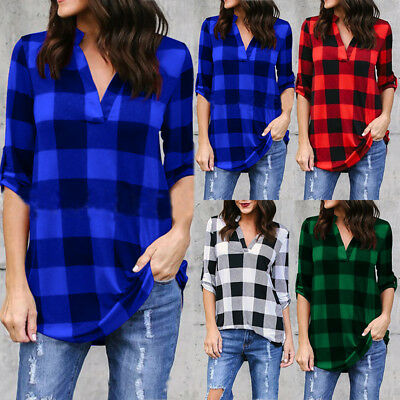 New Fashion Womens Plaid Checked  T-Shirt Top Ladies Casual Shirts Tops Blouse
