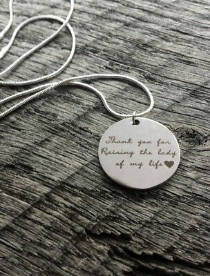 Thank You For Raising the Lady of My Life Silver Gift Necklace Mother in Law