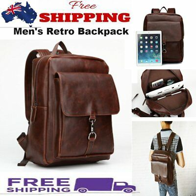 NEW Fashion Men's Retro PU Leather Backpack Laptop Satchel School Travel Bags AU