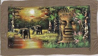 "Original Oil Painting from Cambodia    Scene with Angkor Wat  18"" x 11""     5205"