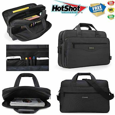 Mens 15.6 inch Luxury Business Expandable Briefcase Laptop Handbag Shoulder Bag