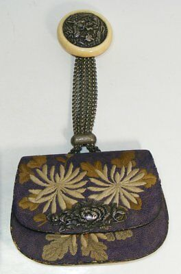 Antique Japanese Tobacco Pouch Dragons And Flowers