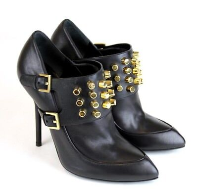 88b5c56378c Gucci Black Leather Gold Studded Booties Size 39