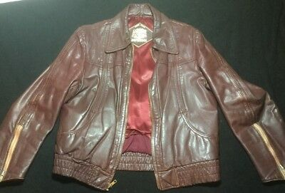 Vintage 70s Fight Club IMPERIAL Leather Jacket Mens L 38/40 Ox Blood
