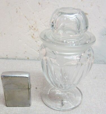 "C 1900 5"" miniature candy jar apothecary drugstore ground lid Heisey"