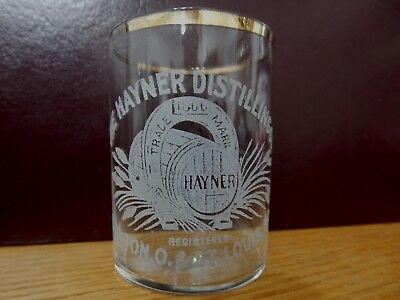 pre-pro Hayner Distilling Co. Whiskey Shot Glass Dayton Ohio and St. Louis, MO.