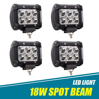 "4x 4"" Inch 18W LED Work Light Pods Cube Spot Beam Offroad ATV UTE SUV Jeep Truck"