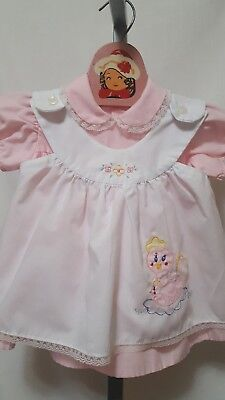 Vtg Infant 2 Piece Spring Easter Dress And Duck Applique Pinafore Size 18M?