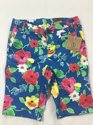 NWT Lands End Kids Size 4 Years Blue Multi-colored Floral Cotton Bermuda Shorts