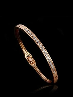 18k Yellow Gold Plated Bangle Bracelet Solid  Women's Jewellery