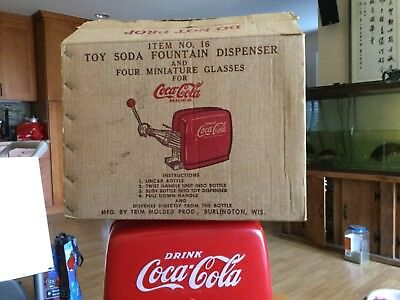 Vintage Coca-Cola Dispenser, Toy Soda Pop Fountain, w/ 4 miniature glasses