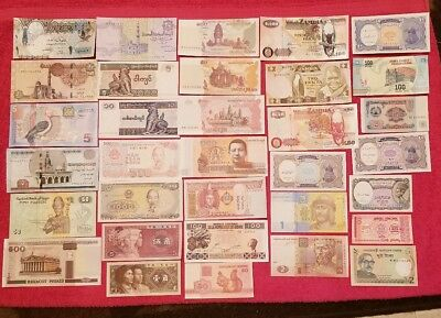 Lot 33 PCS From  Differant Countries Banknotes World Paper Money Currency,UNC