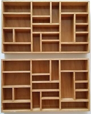 Vintage wooden letterpress printer's tray drawer compartment display cabinetset