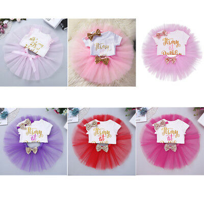 Toddler Baby Girl 1st First Birthday Outfit Tutu Skirt Party Dress Set 3Pcs 0-12