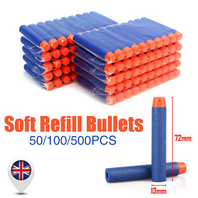 500x Gun Soft Refill Bullets Darts Round Head Elite Blasters Nerf N-Strike Toy