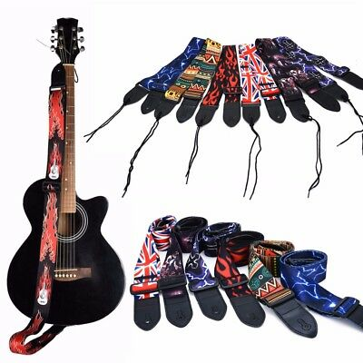 1PC PU Patterned Guitar Strap Belts Leather End For Electric Guitar Bass