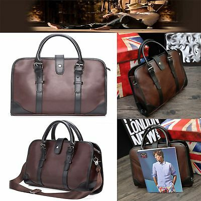 STOCK Men's Vintage Retro Leather Messenger Briefcase Shoulder Business Handbag