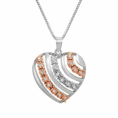 1/10 ct Champagne and White Diamond Heart Pendant in 14K Rose Gold over Sterling