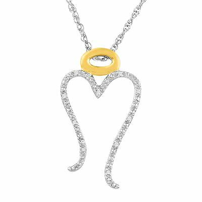 Open Heart Angel Pendant with Diamonds in 14K Gold-Plated Sterling Silver