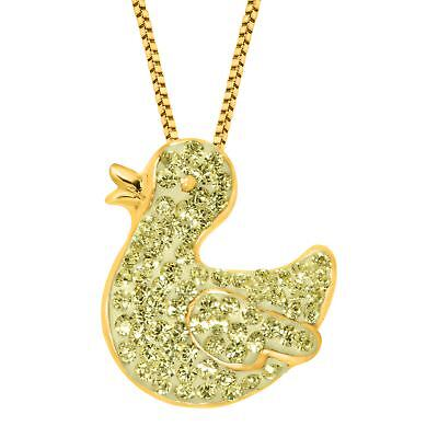 Crystaluxe Duck Pendant with Swarovski Crystal 18K Gold-Plated Sterling Silver