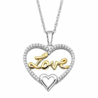 1/8 ct Diamond 'Love' Script Pendant in Sterling Silver & 10K Gold