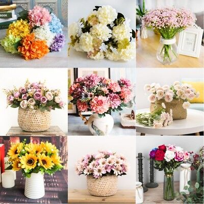 Artificial Fake Roses Silk Flower Floral Wedding Home Bridal Bouquet Party Decor
