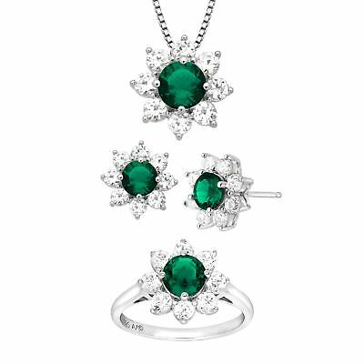 5 7/8 ct Created Emerald, White Sapphire Flower Pendant, Ring Earring Set Silver