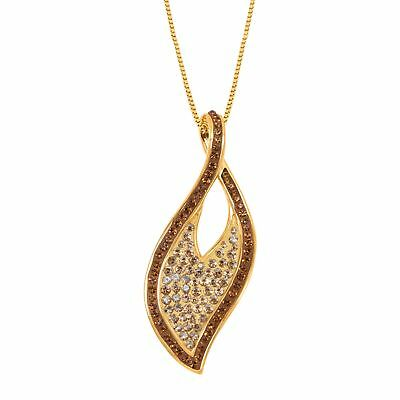 Crystaluxe Leaf Pendant with Swarovski Crystals, 18K Gold-Plated Sterling Silver