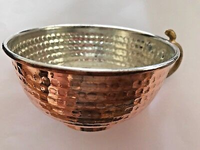 Turkish Hand Hammered BOWL, COPPER, SHAVING CASE, WATER AYRAN MUG CUP Tin Plated