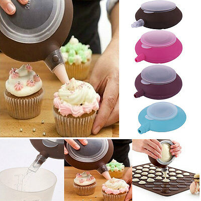 "5"" Macaron Baking Decorating 3 Nozzle Silicone Pen Pastry Cream Cake Muffin Set"