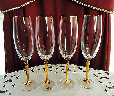 Vintage Set Of 4 Bohemia Czechoslovakia Crystal Tall Gold Stems Champagne Flutes