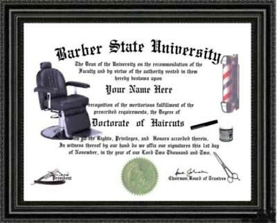 Barber Lover's Diploma / Degree Custom Made & Designed for You UNIQUE Gift
