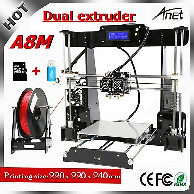 100% Genuine Anet A8M Printer DIY i3 Upgradest Dual extruder 3D Desktop Drucker