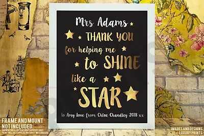 Personalised TEACHER Thank You Gift School Present Gift Canvas Dance Star