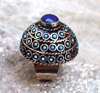Blue Lapis Stone Afghan Kuchi Ring Tribal Jewelry Ethnic Bohemian Boho Dome