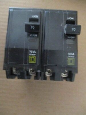 2-New SQUARE D QO270 2 POLE 70 AMP 120/240 VOLT QO BREAKER PLUG IN FITS NQOD